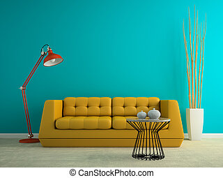 Part of interior with yellow sofa 3D rendering