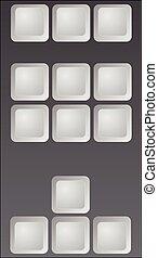 part of keyboard blank keys vector 3D illustration gray