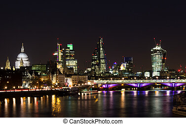 Part of London City Skyline at Night