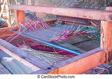 Part of loom white thread homemade