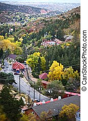 Part of Manitou Springs, Colorado - Bird View. The City of Manitou Springs is a Home Rule Municipality Located in El Paso County, Colorado, United States.