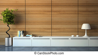 Part of modern interior with wood wall 3d