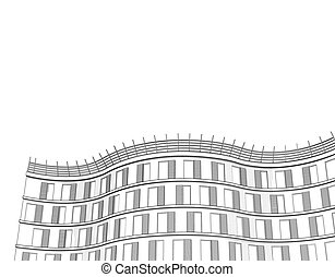 Vector architectural black and white background with modern apartment or office multistory building