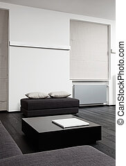Part of modern sitting room interior in black and white...