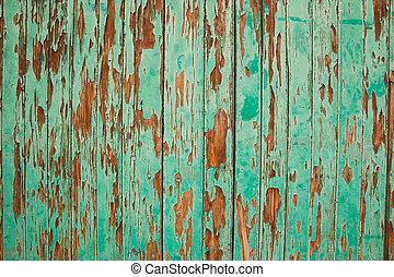 Part of old wooden door in green color