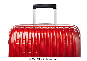 part of red carbon suitcase