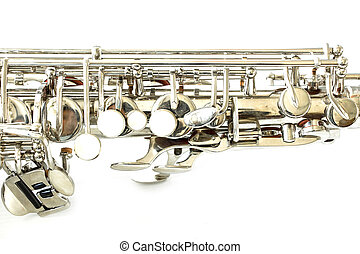 Part of saxophone on white