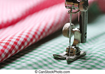 sewing machine - Part of sewing machine and checkered fabric...