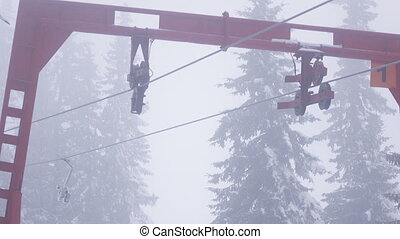 Part of ski lift winter - Rotating part of ski rope tow