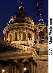 Part of St. Isaac's Cathedral in Russia - night vertical...