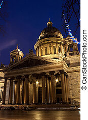 Part of St. Isaac's Cathedral in Saint Petersburg - night...