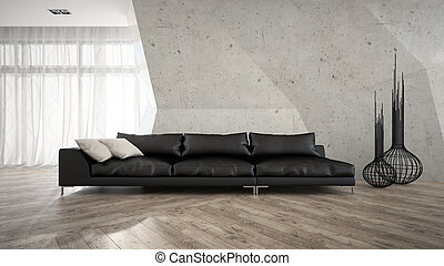Part of stylish interior with black sofa 3D rendering
