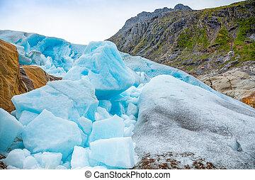 Part of blue Svartisen Glacier in Norway