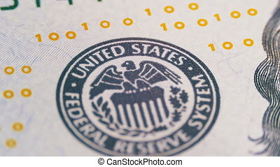Part of the 100 US Bills, view on Printing Type of the...