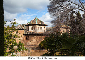 Part of the Alhambra Palace in the garden,Granada,Spain