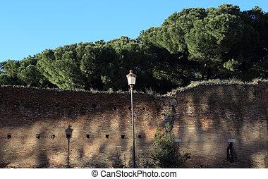 Aurelian walls in Rome