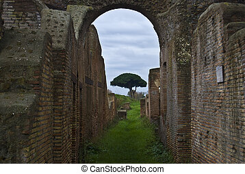 part of the beautiful archaeological site in Ostia Antica near Rome