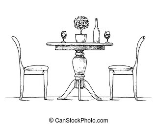 Part of the dining room. Round table and chairs. On the table vase of flowers. Hand drawn sketch. Vector illustration