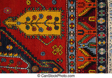 Part of the edge red woolen carpet