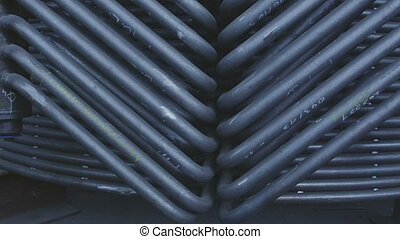 Part of the heat conduction - Pan over welded pipes, close...