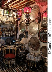 Part of the interior with beautiful furniture and various Moroccan decorations