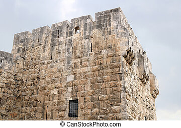 Part of the Jaffa Gate structure in The Old City of Jerusalem, Israel