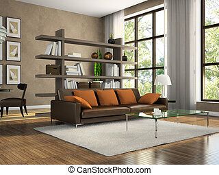 Part of the modern apartment 3D rendering. Illustrations on...