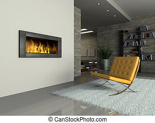 Part of the modern apartment with fireplace 3D