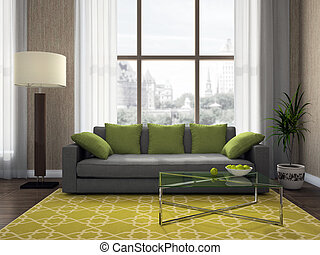 Part of the modern living-room 3D rendering