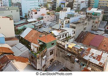 Part of the non commercial skyline of Ho Chi Minh City (Saigon), Vietnam