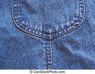 Part of the pocket in denim