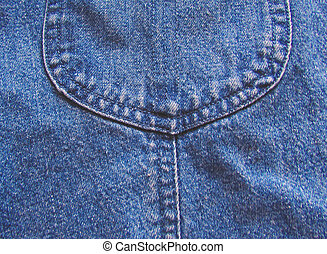 Part of the pocket in denim
