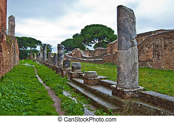 part of the roman ruins of the port in Ostia