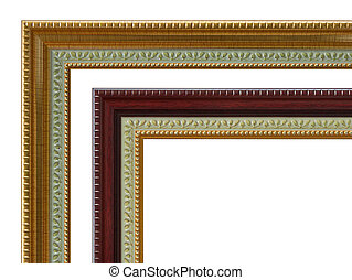 Part of the wooden frame isolated on white background.