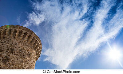 Part of tower against sky, Rhodes Greece