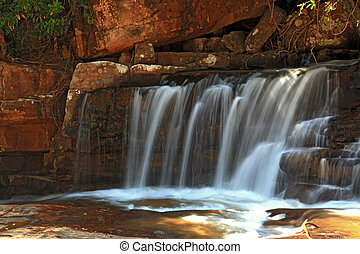 part of Tropical Tadtone waterfall in rain forest in Chaiyaphum North east of Thaland