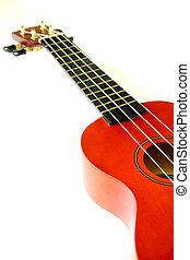 part of ukulele isolated on white background