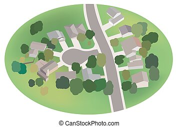 part of village - street with houses - airview - vector