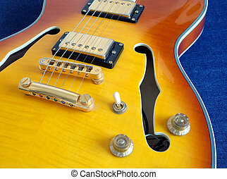 Part of vintage semi-hollow body electric guitars