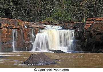 part of waterfall Tadtone in climate forest of Thailand