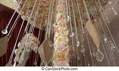 Part of wedding decoration with rhynestone garland