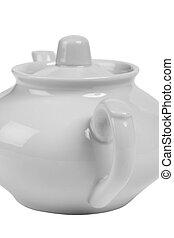 Part of White Ceramic Teapot closeup