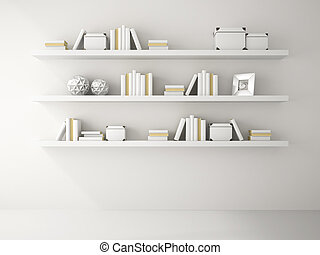 Part of white color Interior with book shelf 3D rendering
