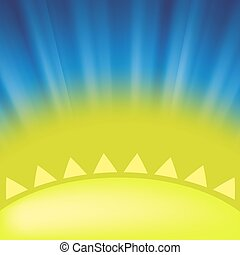 Part of Yellow Sun on Blue Sky Background