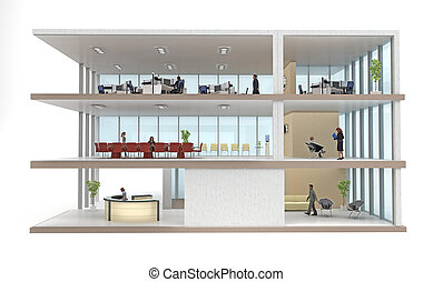 office building cutaway isolated on white - part office ...