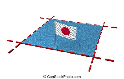 part sea with borders and flag of Japan