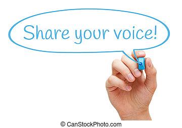 part, ton, voix, bulle discours, concept