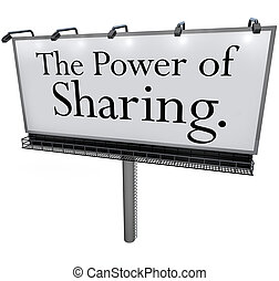 partage, aide, puissance, donner, autres, panneau affichage,...