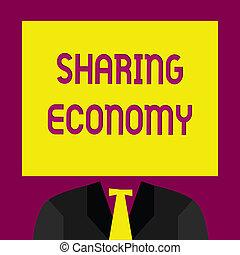 partage, basé, business, photo, projection, economy., écriture, accès, économique, texte, main, marchandises, conceptuel, modèle, fournir