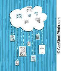 partage, calculer, /, documents, ligne, nuage